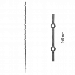 Pręt stalowy kuty otworowany 14x14mm L2000 mm