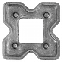Maskownica stalowa kuta otworowana 62x62 otwór 24x24 mm