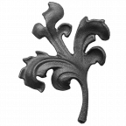 Liść stalowy ozdobny H155 x L140 x 4 mm lewy