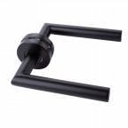 Klamka do drzwi Modena ze stali nierdzewnej z szyldem okrągłym, czarna