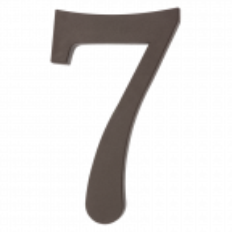 """Plastikowa cyfra na dom """"7"""", 180 mm, brązowa"""
