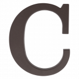 """Plastikowa litera na dom """"C"""", 90 mm, brązowa"""