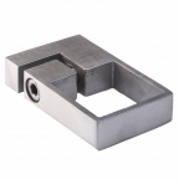 Mocowanie słupa balustrady 40x40 mm z obejmą zaciskową, długość 80 mm, szerokość 47 mm, stal nierdzewna, satyna