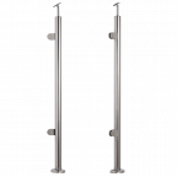 Słupek balustradowy lewy ze stali nierdzewnej Fi42,4/H1060 mm, 2 uchwyty, polerowany