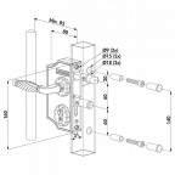 Zamek nawierzchniowy ozdobny do furtek dla profilu 30-40 mm z klamką - srebrny